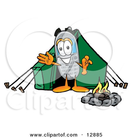 Wireless Cellular Telephone Mascot Cartoon Character Camping With a Tent and Fire Posters, Art Prints
