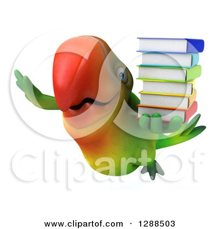 Clipart of a 3d Green Macaw Parrot Flying and Holding a Stack of Books - Royalty Free Illustration by Julos