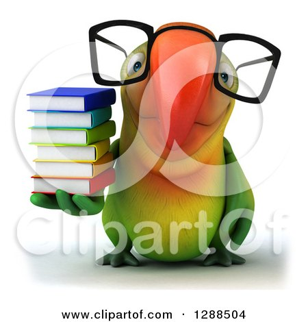Clipart of a 3d Bespectacled Green Macaw Parrot Holding a Stack of Books - Royalty Free Illustration by Julos