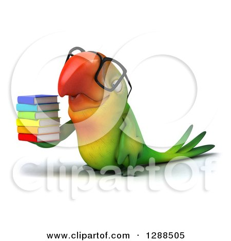 Clipart of a 3d Bespectacled Green Macaw Parrot Facing Left and Holding a Stack of Books - Royalty Free Illustration by Julos