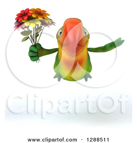 Clipart of a 3d Green Macaw Parrot Flying and Holding a Bouquet of Flowers - Royalty Free Illustration by Julos