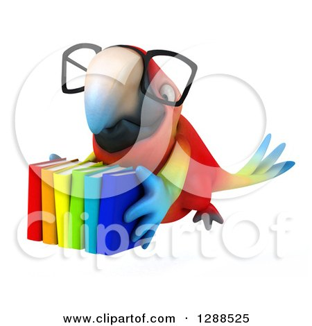 Clipart of a 3d Bespectacled Scarlet Macaw Parrot Flying with a Stack of Books - Royalty Free Illustration by Julos