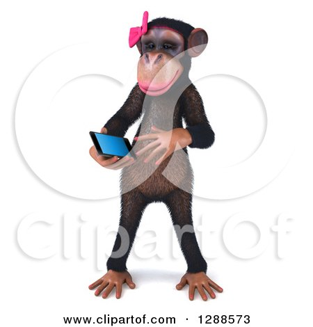 Clipart of a 3d Female Chimpanzee Looking at a Smart Cell Phone - Royalty Free Illustration by Julos