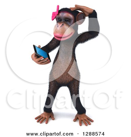 Clipart of a 3d Female Chimpanzee Scratching Her Head and Looking at a Smart Cell Phone - Royalty Free Illustration by Julos