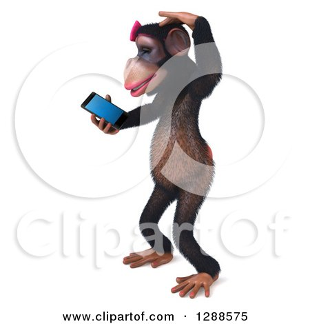 Clipart of a 3d Female Chimpanzee Facing Left, Scratching Her Head and Looking at a Smart Phone - Royalty Free Illustration by Julos