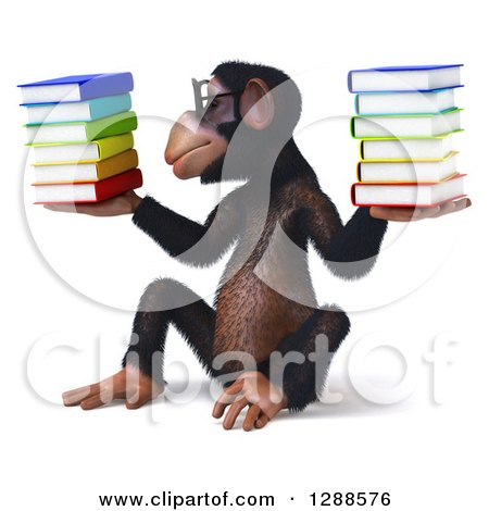 Clipart of a 3d Bespecacled Chimpanzee Sitting, Holding and Looking at a Stack of Books - Royalty Free Illustration by Julos