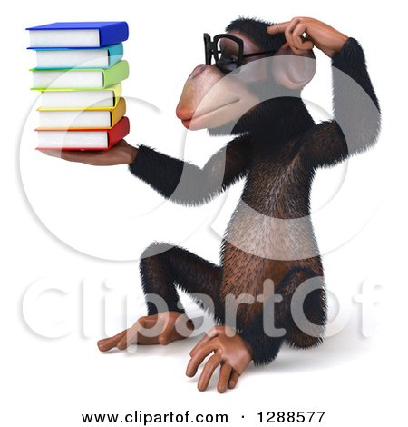 Clipart of a 3d Bespecacled Chimpanzee Sitting, Scratching His Head, Holding and Looking at a Stack of Books - Royalty Free Illustration by Julos