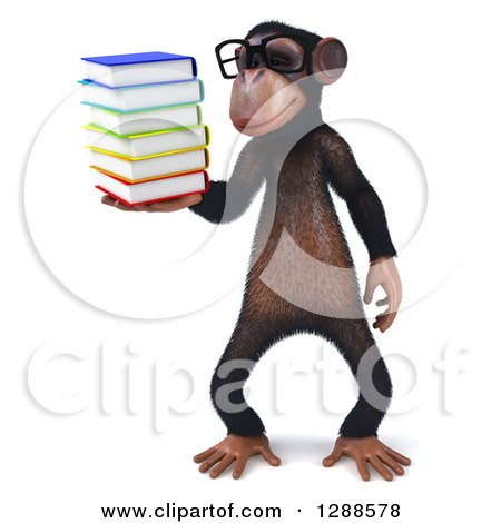 Clipart of a 3d Bespectacled Chimpanzee Holding and Looking at a Stack of Books - Royalty Free Illustration by Julos