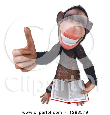Clipart of a 3d Happy Chimpanzee Holding up a Thumb and a Book - Royalty Free Illustration by Julos