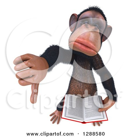 Clipart of a 3d Unhappy Chimpanzee Holding up a Thumb down and a Book - Royalty Free Illustration by Julos