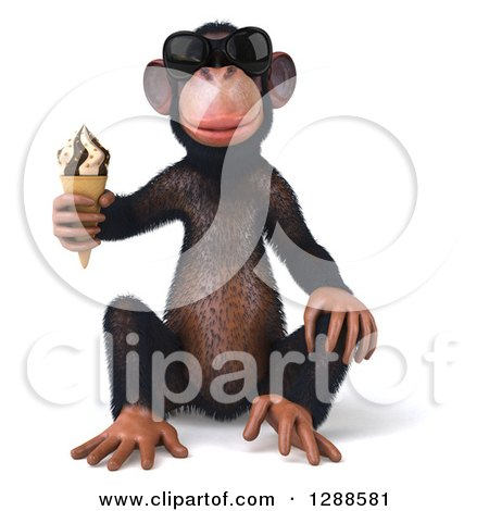 Clipart of a 3d Chimpanzee Monkey Wearing Sunglasses, Sitting and Holding an Ice Cream Cone - Royalty Free Illustration by Julos