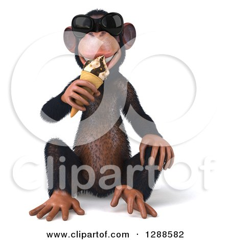 Clipart of a 3d Chimpanzee Monkey Wearing Sunglasses, Sitting and Eating an Ice Cream Cone - Royalty Free Illustration by Julos
