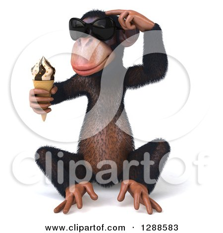 Clipart of a 3d Thinking Chimpanzee Monkey Wearing Sunglasses, Sitting and Holding an Ice Cream Cone - Royalty Free Illustration by Julos