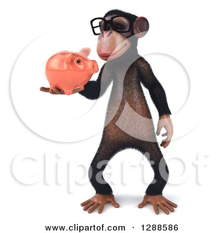 Clipart of a 3d Bespectacled Chimpanzee Holding and Looking at a Piggy Bank - Royalty Free Illustration by Julos