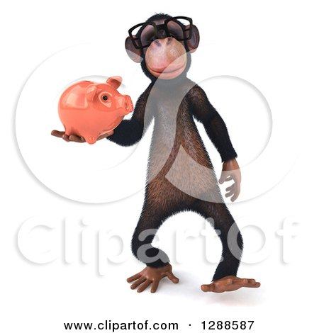 Clipart of a 3d Bespectacled Chimpanzee Holding a Piggy Bank - Royalty Free Illustration by Julos
