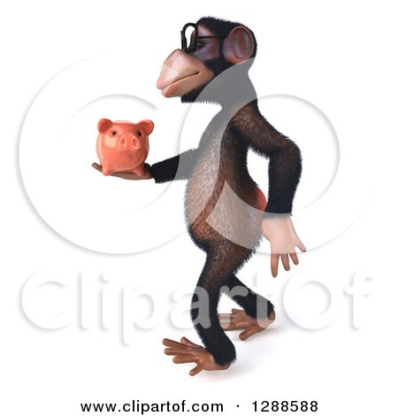 Clipart of a 3d Bespectacled Chimpanzee Walking to the Left and Holding a Piggy Bank - Royalty Free Illustration by Julos