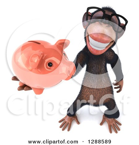 Clipart of a 3d Bespectacled Chimpanzee Holding up a Piggy Bank - Royalty Free Illustration by Julos