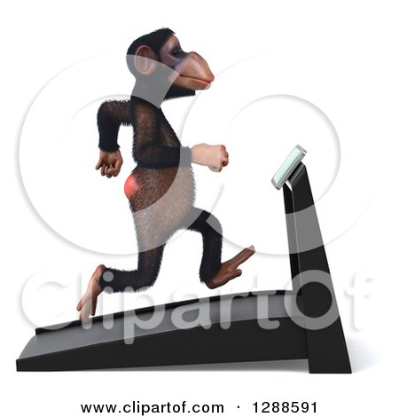 Clipart of a 3d Chimpanzee Facing Right and Running on a Treadmill - Royalty Free Illustration by Julos