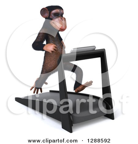 Clipart of a 3d Chimpanzee Facing Slightly Right and Running on a Treadmill - Royalty Free Illustration by Julos
