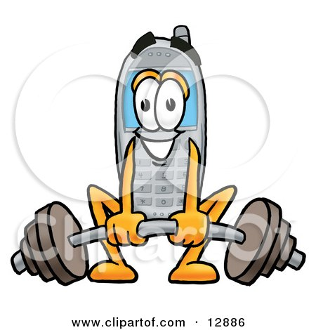 Clipart Picture of a Wireless Cellular Telephone Mascot Cartoon Character Lifting a Heavy Barbell by Toons4Biz