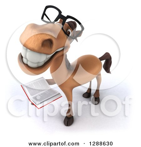 Clipart of a 3d Bespectacled Brown Horse Smiling Upwards and Holding a Book - Royalty Free Illustration by Julos
