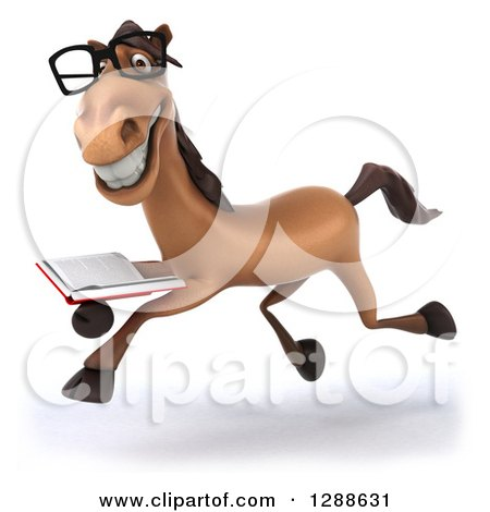 Clipart of a 3d Bespectacled Brown Horse Running to the Left with a Book - Royalty Free Illustration by Julos