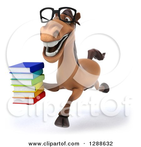 Clipart of a 3d Bespectacled Brown Horse Running Slightly to the Left with a Stack of Books - Royalty Free Illustration by Julos