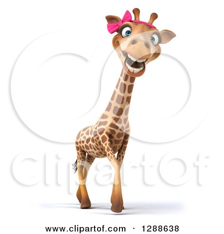Clipart of a 3d Female Giraffe Smiling and Walking to the Right - Royalty Free Illustration by Julos