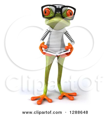 Clipart of a 3d Bespectacled Green Springer Frog Sailor Reading a Book - Royalty Free Illustration by Julos