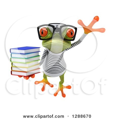 Clipart of a 3d Bespectacled Green Springer Frog Sailor Leaping and Holding a Stack of Books - Royalty Free Illustration by Julos