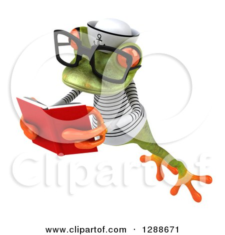 Clipart of a 3d Bespectacled Green Springer Frog Sailor Facing Slightly Left, Leaping and Reading a Book - Royalty Free Illustration by Julos