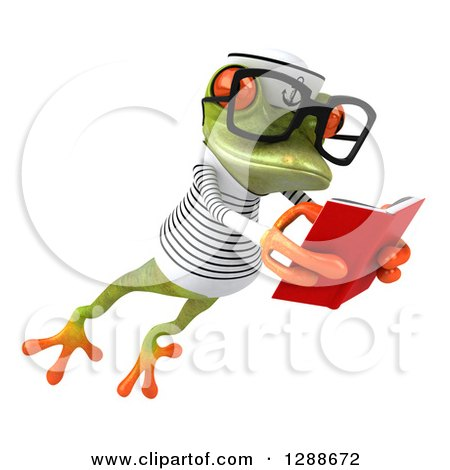 Clipart of a 3d Bespectacled Green Springer Frog Sailor Facing Slightly Right, Leaping and Reading a Book - Royalty Free Illustration by Julos
