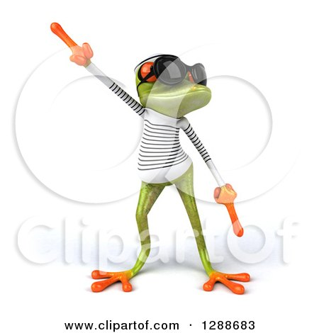 Clipart of a 3d Green Springer Frog Sailor Wearing Sunglasses and Dancing - Royalty Free Illustration by Julos