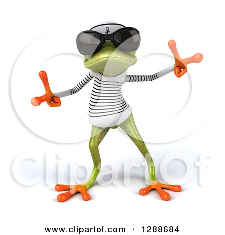 Clipart of a 3d Green Springer Frog Sailor Wearing Shades and Dancing - Royalty Free Illustration by Julos