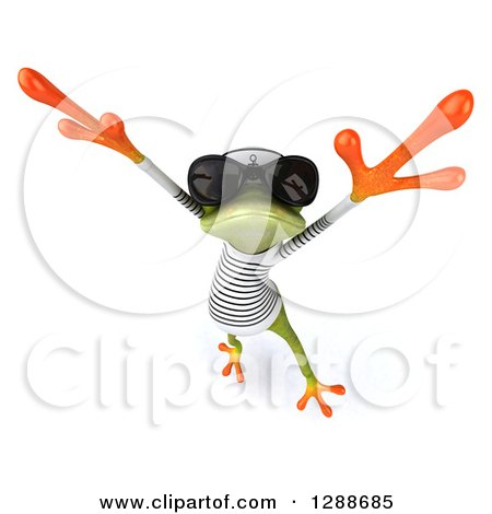 Clipart of a 3d Green Springer Frog Sailor Wearing Sunglasses and Jumping or Dancing - Royalty Free Illustration by Julos