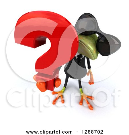 Clipart of a 3d Business Green Springer Frog Wearing Sunglasses, Looking up and Holding a Question Mark - Royalty Free Illustration by Julos