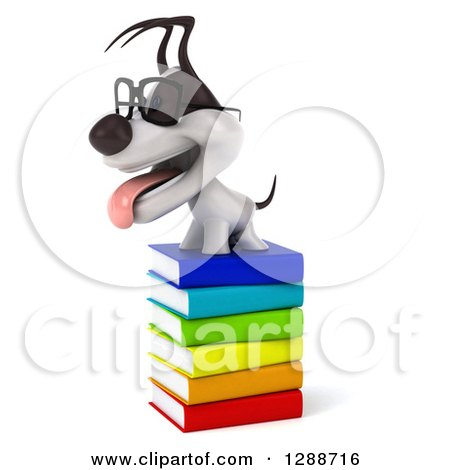 Clipart of a 3d Bespectacled Jack Russell Terrier Dog Facing Left on a Stack of Books - Royalty Free Illustration by Julos
