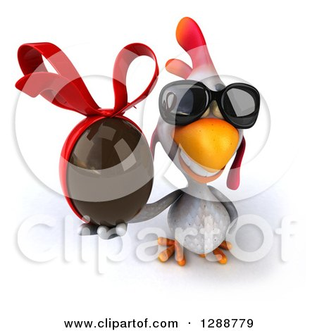 Clipart of a 3d White Chicken Wearing Sunglasses and Holding up a Chocolate Easter Egg - Royalty Free Illustration by Julos