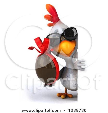 Clipart of a 3d White Chicken Wearing Sunglasses and Holding a Chocolate Easter Egg Around a Sign - Royalty Free Illustration by Julos