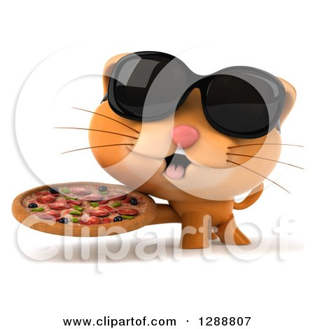 Clipart of a 3d Ginger Cat Wearing Sunglasses and Holding a Pizza - Royalty Free Illustration by Julos