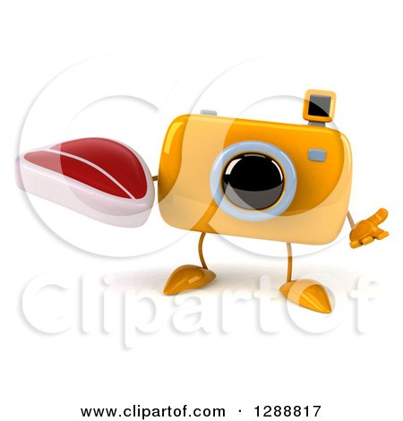 Clipart of a 3d Yellow Camera Character Shrugging and Holding a Beef Steak - Royalty Free Illustration by Julos