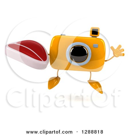 Clipart of a 3d Yellow Camera Character Jumping and Holding a Beef Steak - Royalty Free Illustration by Julos