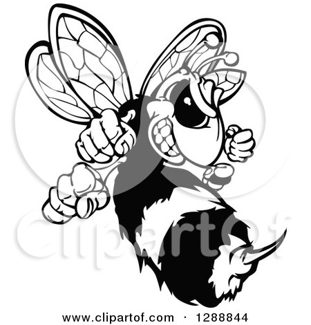 Clipart of a Black and White Aggressive Stinging Hornet Mascot - Royalty Free Vector Illustration by Chromaco