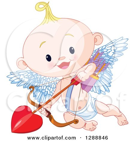 Clipart of a Cute Blond White Baby Cupid Flying with a Heart Arrow - Royalty Free Vector Illustration by Pushkin