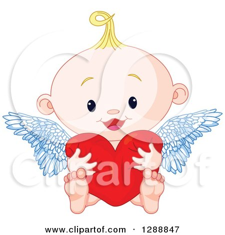 Clipart of a Cute Blond White Baby Cupid Hugging a Heart - Royalty Free Vector Illustration by Pushkin