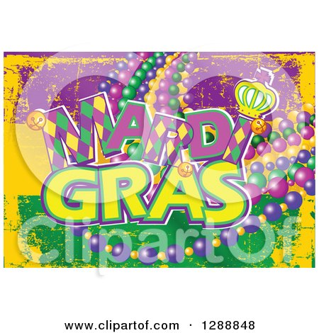 Clipart of a Grungy Purple Yellow and Green Mardi Gras Flag Background with Text and Beads - Royalty Free Vector Illustration by Pushkin