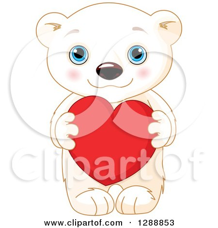 Clipart of a Cute Valentines Day Polar Bear Cub Holding a Red Heart - Royalty Free Vector Illustration by Pushkin