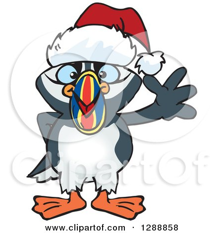 Clipart of a Cartoon Happy Puffin Bird Wearing a Christmas Sant Hat and Waving - Royalty Free Vector Illustration by Dennis Holmes Designs