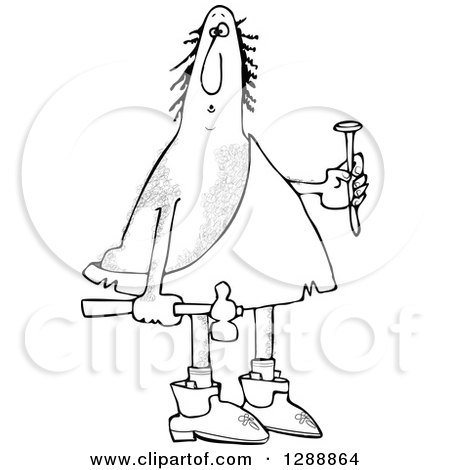 Clipart of a Black and White Hairy Caveman Holding a Nail and Hammer - Royalty Free Vector Illustration by djart