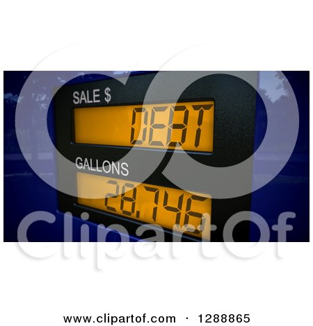 Clipart of a 3d Gas Pump Putting People into Debt from Expensive Gas, over a Blue Map - Royalty Free Illustration by stockillustrations